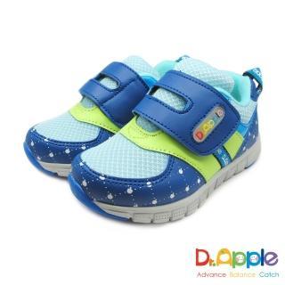 【Dr. Apple 機能童鞋】經典格菱蘋果印刷休閒童鞋(藍)