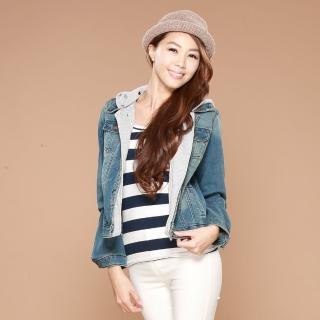 【雪莉亞】日系牛仔七八分袖牛仔外套(復古個性刷破風七八分袖外套)