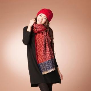 【雪莉亞】方格流蘇針織圍巾式披肩(紅拼藍)