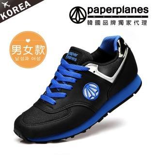 【PAPERPLANES韓國休閒鞋】正韓製復古撞色慢跑休閒鞋(7-1336藍黑/現+預)