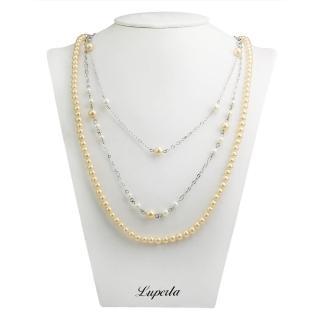 【大東山珠寶】3層款式南洋貝寶珠長版項鍊(金)