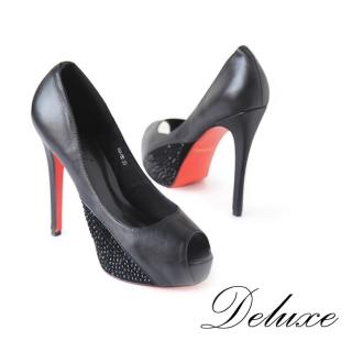 【Deluxe】魚口高跟鞋(真皮墊前滾黑珠 黑)