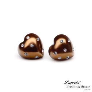 【大東山珠寶】巧克力甜心派對貝寶珠愛心耳環
