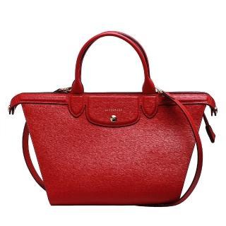 【LONGCHAMP】LE PLIAGE Heritage牛皮手提斜背微笑包(胭脂紅1207813-030)