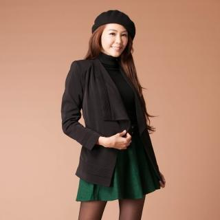 【雪莉亞】時尚開襟V領西裝外套(黑色)