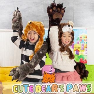 【UHO】卡哇伊 超保暖 動物帽 圍巾 熊掌 手套 溫暖您的手