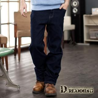 【Dreamming】保暖內磨毛伸縮中直筒牛仔褲(深藍)