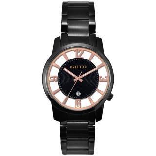 【GOTO】多層次雙鏤空腕錶-玫瑰金x黑(GS0388X-33-341)
