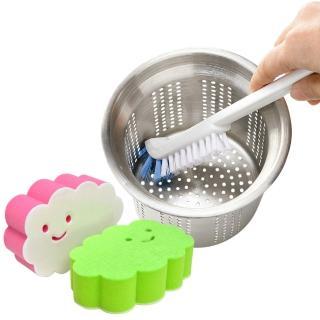 【日本AISEN】黏貼式雲朵海綿刷+排水口直角清潔刷(特惠組)