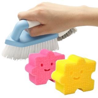 【日本AISEN】兩用機能磁磚清潔刷+黏貼式拼圖海綿刷(特惠組)