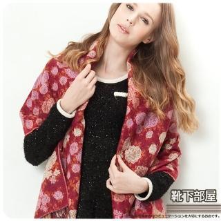 【靴下部屋】薔薇花織˙柔膚觸披肩圍巾(酒紅色系)