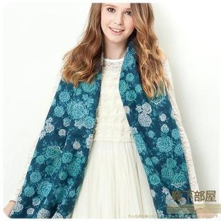 【靴下部屋】薔薇花織˙柔膚觸披肩圍巾(湖水藍綠)