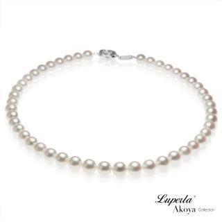 【大東山珠寶】日本Akoya海水珍珠項鍊耳環套組-純潔與永恆8.5-9mm