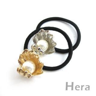 【Hera】赫拉 質感貝殼大珍珠髮圈/髮束(二色任選)