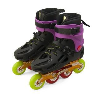 【D.L.D多輪多】鋁合金底座 專業平花直排輪 溜冰鞋(黑紫 GP-003)