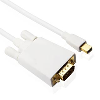 鍍金 Mini DisplayPort 公 to VGA 公 轉換線(白色1.8米)