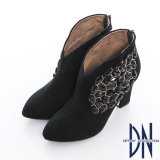 【DN】晚宴派對 性感矚目鑲寶石粗跟裸靴(黑)
