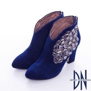 【DN】晚宴派對 性感矚目鑲寶石粗跟裸靴(藍)