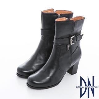 【DN】時尚美型 側邊拉鍊釦帶裝飾粗跟短靴(黑)