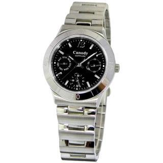 【CANODY】輕漾三眼全日曆流行腕錶(黑-32mm-CB9802-A)