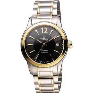【TITONI】Airmaster 紳士時尚機械腕錶-黑x雙色版(83933SY-324)