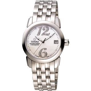 【TITONI】Master Series 天文台認證機械腕錶-珍珠貝x銀(23588S-331)