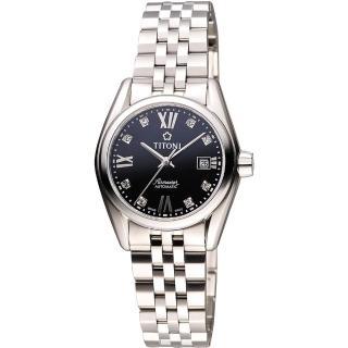 【TITONI】Airmaster 復刻日曆晶鑽腕錶-黑(23909S-354)