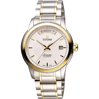 【TITONI】Airmaster 時尚Day-Date機械腕錶-銀x雙色版(93933SY-332)