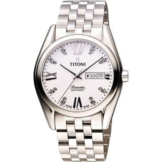 【TITONI】Airmaster 紳士時尚Day-Date機械腕錶-銀(93709S-385)
