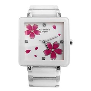 【Valentino范倫鐵諾】浪漫櫻花精密陶瓷方形手錶腕錶