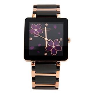 【Valentino范倫鐵諾】奢華玫瑰金櫻花精密陶瓷方形手錶