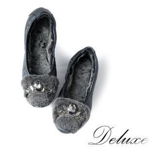 【Deluxe】暖毛包頭娃娃鞋(綿羊毛絕對暖足 黑)