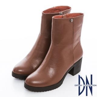 【DN】歐美主流 質感素面全真皮簡約粗跟短靴(棕)