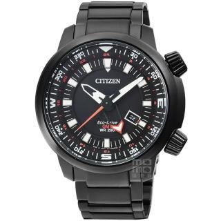 【CITIZEN】星辰PROMASTER雙時區光動能飛行錶-IP黑(BJ7086-57E)