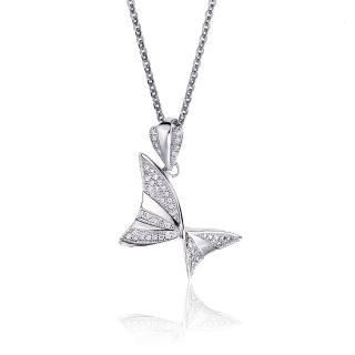 【大東山珠寶】小蝴蝶純銀晶鑽項鍊