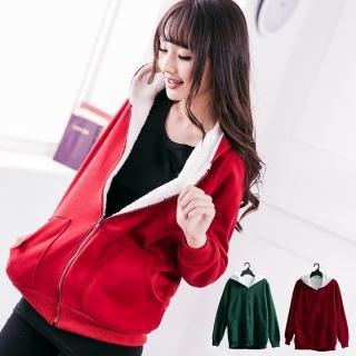 【衣心衣意中大尺碼】保暖刷毛絨毛兩層連帽外套(紅-綠A5039)