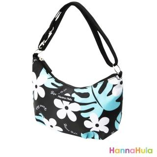 【日本Hanna Hula】輕量側肩包(花葉黑)