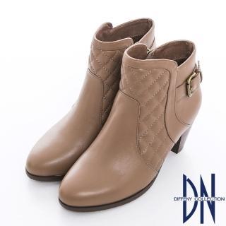 【DN】氣質時尚 華麗美型菱格紋單釦粗跟裸靴(可可)
