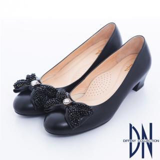 【DN】微甜氣質 全真皮耀眼鑲飾蝴蝶低跟鞋(黑)