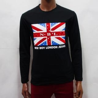【NBL-NEWBOYLONDON】T0490BK黑色G灰色W白色圓領英國國旗長袖T