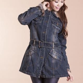 【RH】帥氣軍中風格保暖長版牛仔外套(牛仔藍S到3L原價899減300)