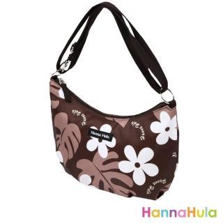 【日本 Hanna Hula】輕量側肩包/媽媽包(花葉咖)