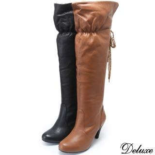 【Deluxe】兩穿中跟長靴(內絨蕾絲蝴蝶綁帶  黑/咖啡)