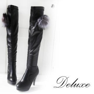 【Deluxe】膝上高跟長靴(毛絨刺蝟兔毛球團  黑)