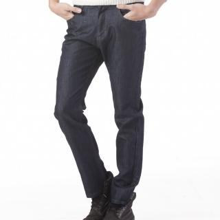 【RH】專利型男簡約牛仔長褲(深藍色黑細格紋實碼實腰)