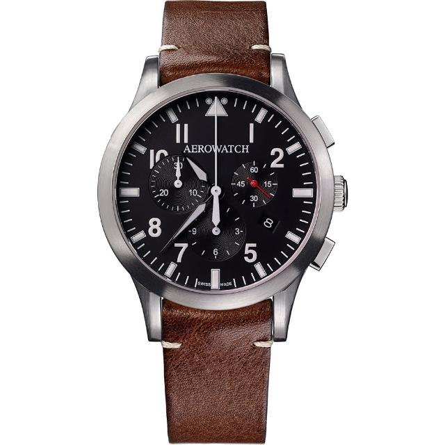 【AEROWATCH】Grace優雅風範三眼計時腕錶-黑x咖啡色(A83966AA01)