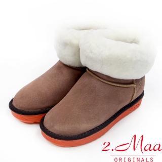 【2.Maa】個性撞色牛麂皮反折暖暖雪靴(經典棕)
