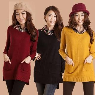 【雪莉亞】日系絨布襯衫領彈性針織上衣(紅色.黑色.黃色)