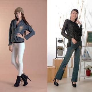 【RH】日系刺繡外套+刺繡喇叭牛仔褲(活力藍二件組)