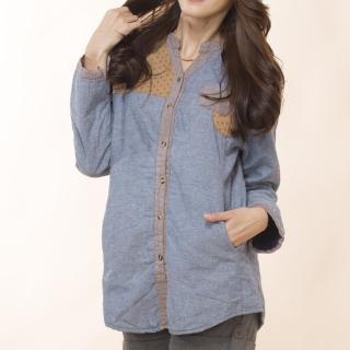 【雪莉亞】亞麻布襯衫超保暖上衣(藍色.綠色)